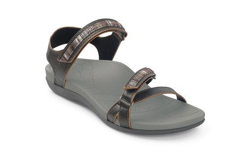 Aetrex Women's Mila Quarter Strap Sandal - Pewter