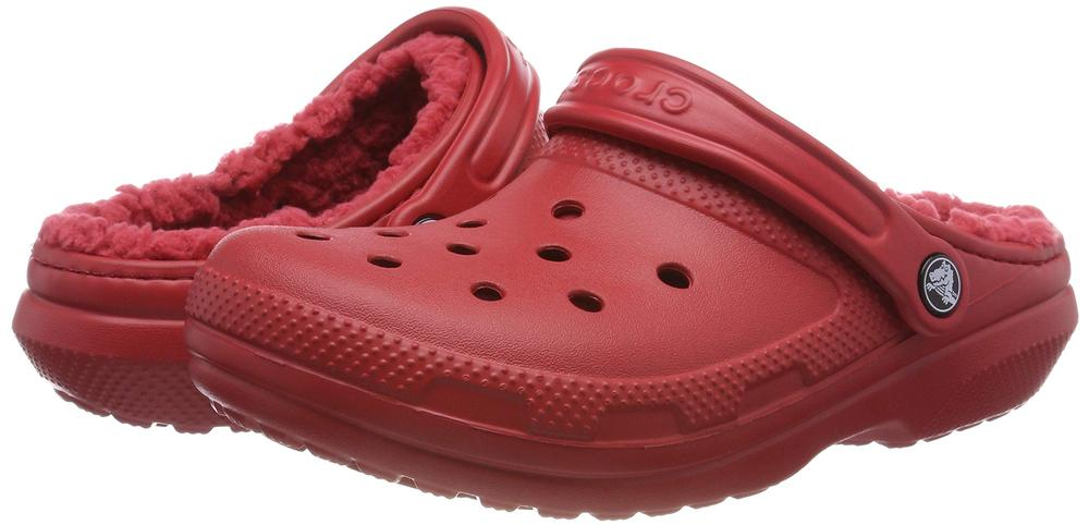 Crocs Classic Lined Clog Burgundy Red Lightweight Warm Comfort Clogs Size