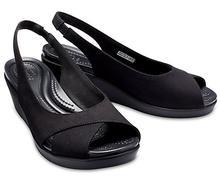 Crocs Women's Leigh Ann Slingback Wedge BLACK