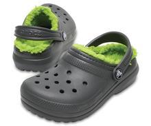Crocs Kids' Classic Fuzz-Lined Clog SLATE_GREY