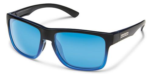 Suncloud Optics Rambler Black and Blue Sunglasses with Polar Blue Mirror Lens