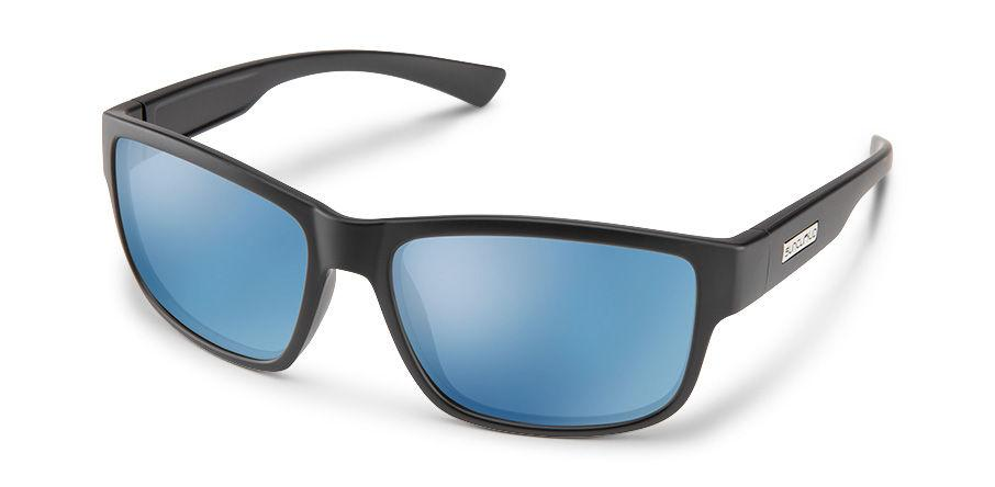 Suncloud Optics Suspect Sunglasses Matte Black With Polar Blue Mirror Lens