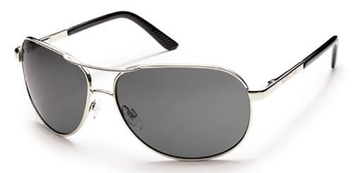 Suncloud Optics Aviator Sunglasses Silver with Polar Grey Lens