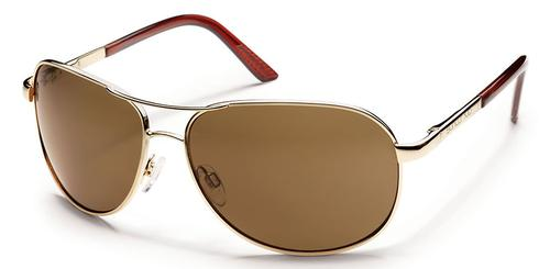 Suncloud Optics Aviator Sunglasses Gold with Polar Brown Lenses