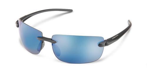 Suncloud Optics Highride Sunglasses Matte Black with Polar Blue Mirror Lens