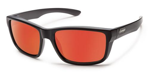 Suncloud Optics Mayor Sunglasses Matte Black with Red Mirror Lens