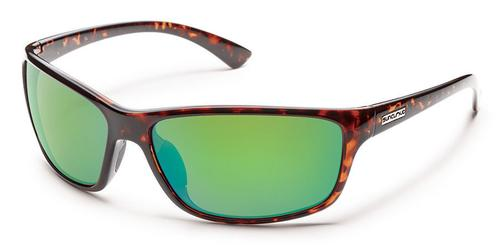 Suncloud Optics Sentry Sunglasses Tortoiseshell with Polar Green Mirror Lens