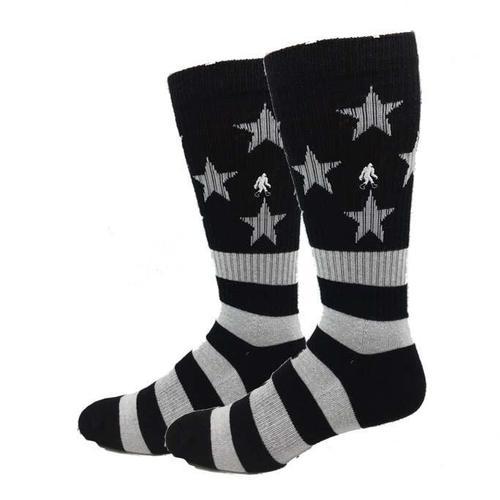 Bigfoot Sock Company Active Black and White USA Flag Socks