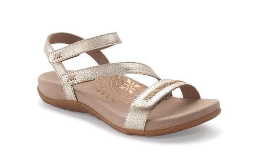 Aetrex Women's Gabby Quarter Strap Sandal in Gold