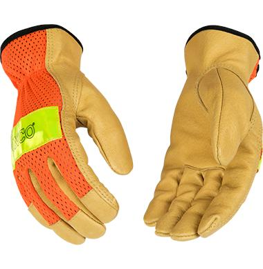 Kinco Hi-Vis Orange Mesh & Grain Pigskin Palm