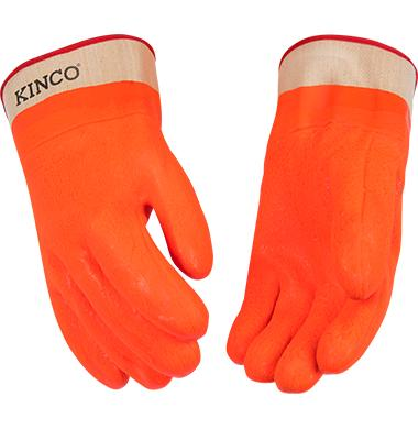Kinco Lined Hi Vis Orange Sandy Finish PVC Safety Cuff Glove