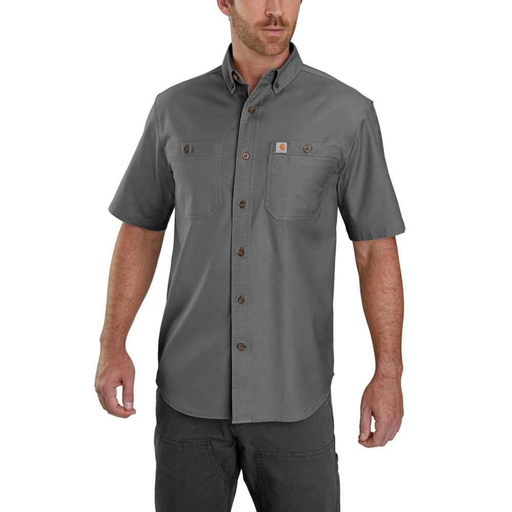 Carhartt Men's Rugged Flex Rigby Short Sleeve Work Shirt GRAVEL