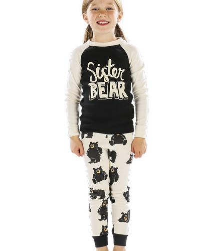Lazy One Girls' Sister Bear Long Sleeve Pajama Set