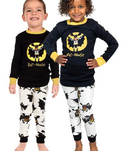 Lazy One Kids' Long Sleeve Batmoose Pajama Set