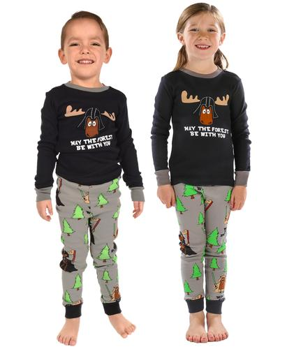 Lazy One Kids' Long Sleeve May the Forest Be With You Pajama Set