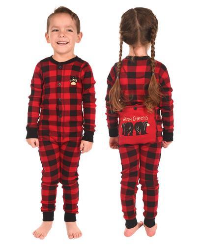 Lazy One Kids' Bear Cheeks Flapjack Pajama Onesie