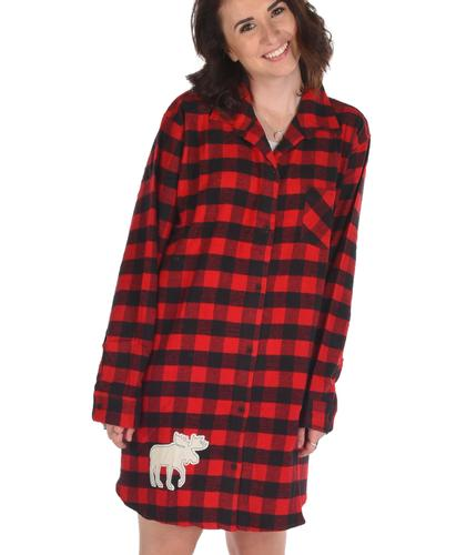 Lazy One Women's Moose Plaid Buttoned Flannel Nightshirt