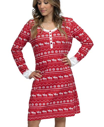 Lazy One Women's Nordic Moose Thermal Nightshirt