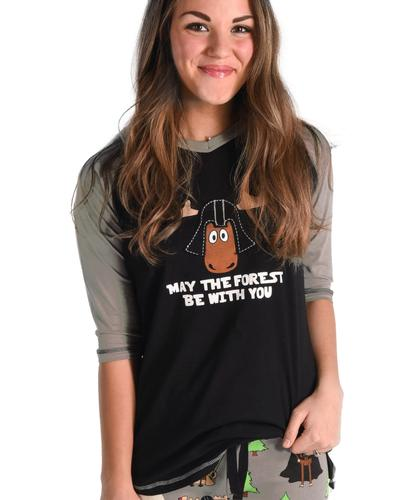 Lazy One Women's May The Forest Be With You Pajama Shirt