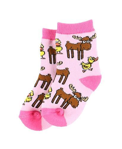 Lazy One Infants' Duck Duck Moose Pink Socks