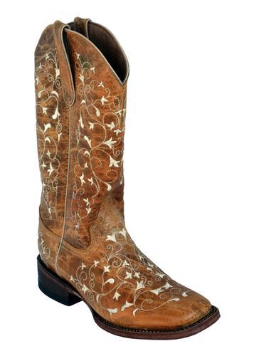 Ferrini Women's Honeysuckle Antique Saddle Square Toe Boot