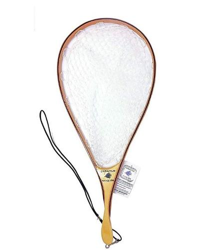 Creative Angler Fly Fishing Net with Rubber Basket and Wooden Handle