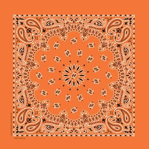 Carolina Creative Traditional Paisley Bandanna Orange