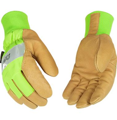 Kinco Hydroflector Lined Hi-Vis Green Waterproof Pigskin Glove with Knit Wrist
