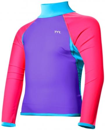 TYR Girl's Solid Splice Rashguard