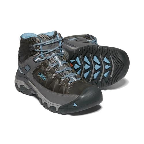 Keen Women's Targhee 3 Mid Waterproof Hiking Boot in Magnet and Atlantic Blue