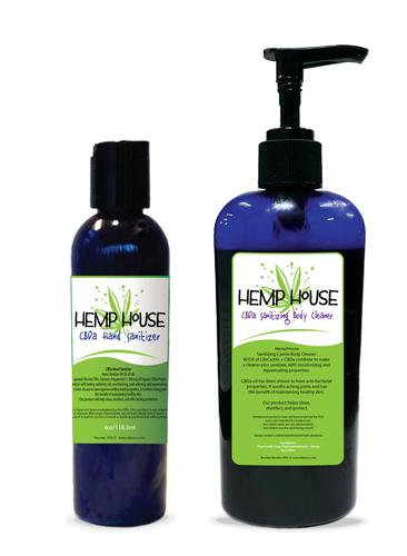 HempHouse CBDa Hand Sanitizer and Sanitizing Body Cleanser Set