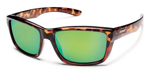 Suncloud Optics Mayor Sunglasses Tortoise Frames with Green Mirror Lenses