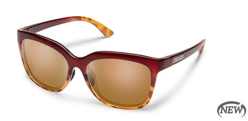 Suncloud Optics Sunnyside Sunglasses Raspberry Tortoise Fade Frames with Brown Lenses