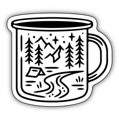 Stickers Northwest Camping Scene Mug Sticker