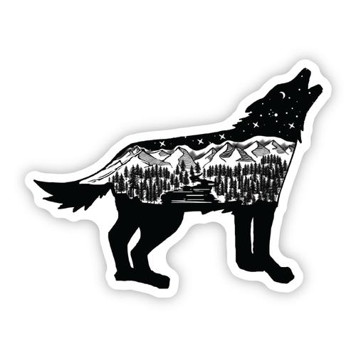 Stickers Northwest Wolf Scene Sticker