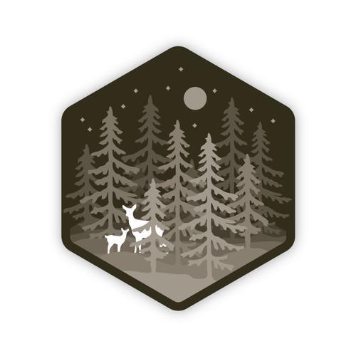 Stickers Northwest Deer in Forest Sticker