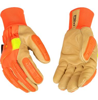 Kinco Lined Hi Vis Orange Grain Pigskin Palm Glove with Impact Protection and Knit Wrist