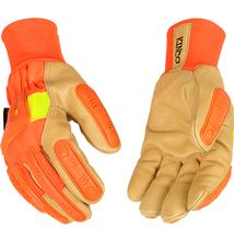 Kinco Lined Hi Vis Orange Grain Pigskin Palm Glove with Impact Protection and Knit Wrist ORANGE