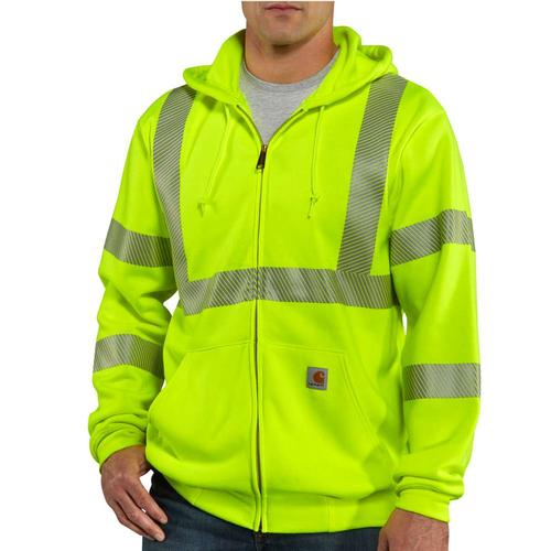 Carhartt Men's Hi Vis Class 3 Zip Front Sweatshirt Tall Sizes