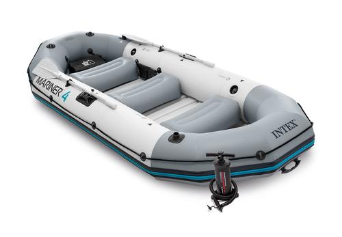Intex Mariner 4 Inflatable Row Boat Set with Oars and Pump