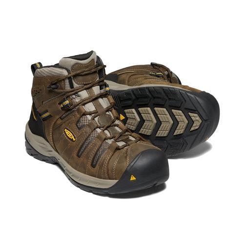 Keen Men's Flint 2 Mid Boot Steel Toe Cascade Brown Goldenrod