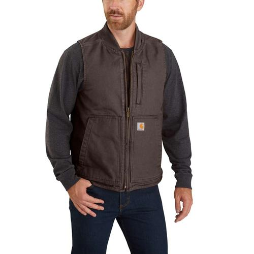 Carhartt Men's Washed Duck Insulated Rib Collar Vest Big and Tall Sizes