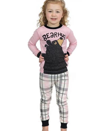 Lazy One Kid's Bear Hug Pink Pajama Set