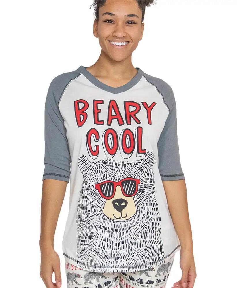Lazy One Women's Beary Cool Pajama Shirt GREY
