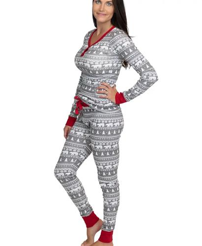 Lazy One Women's Nordic Bear Thermeez Thermal Pajama Set