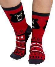 Lazy One Adult Don't Wake the Bear Crew Socks RED