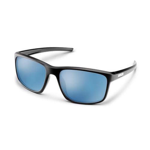 Suncloud Optics Respek Sunglasses Black with Polarized Blue Mirror Lenses