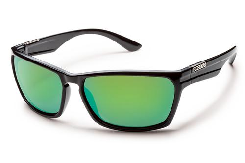 Suncloud Optics Cutout Sunglasses Black with Polarized Green Mirror Lenses
