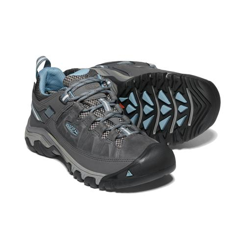 Keen Women's Targhee 3 Waterproof Hiking Shoe in Magnet and Atlantic Blue
