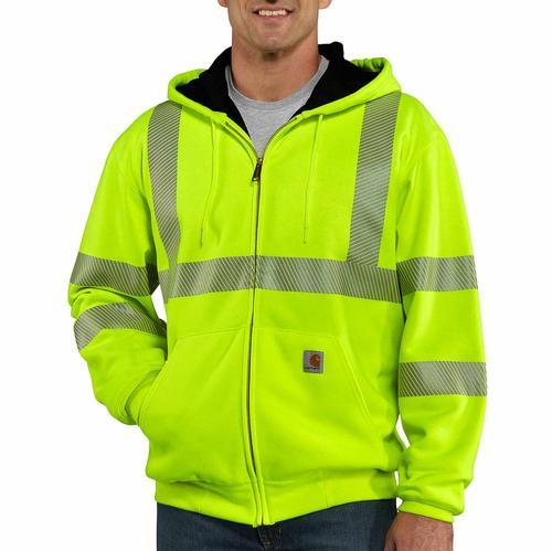 Carhartt Men's High-Visibility Zip-Front Class 3 Thermal Sweatshirt